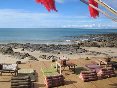 Deck overlooking the beach at Baan Phu Lae bar